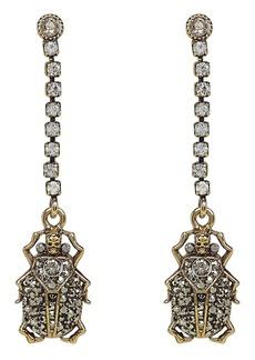 Alexander McQueen Beetle Crystal Chain Earrings