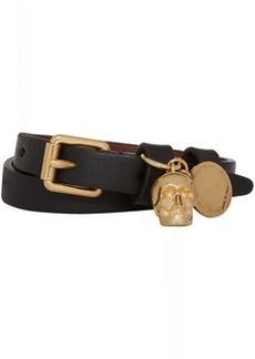 Alexander McQueen Black & Gold Double Wrap Skull Bracelet