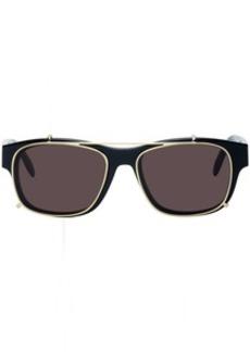 Alexander McQueen Black & Gold Rectangular 54 Sunglasses