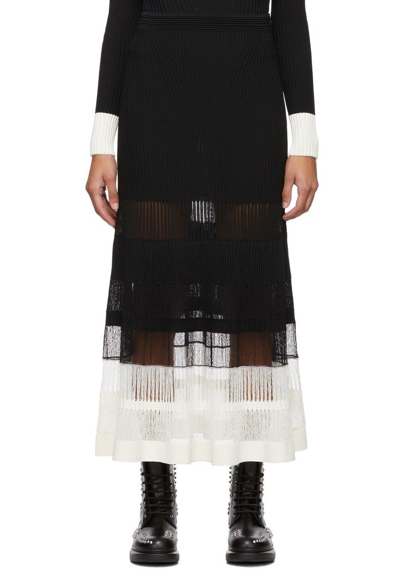 Alexander McQueen Black & Off-White Rib Knit Skirt