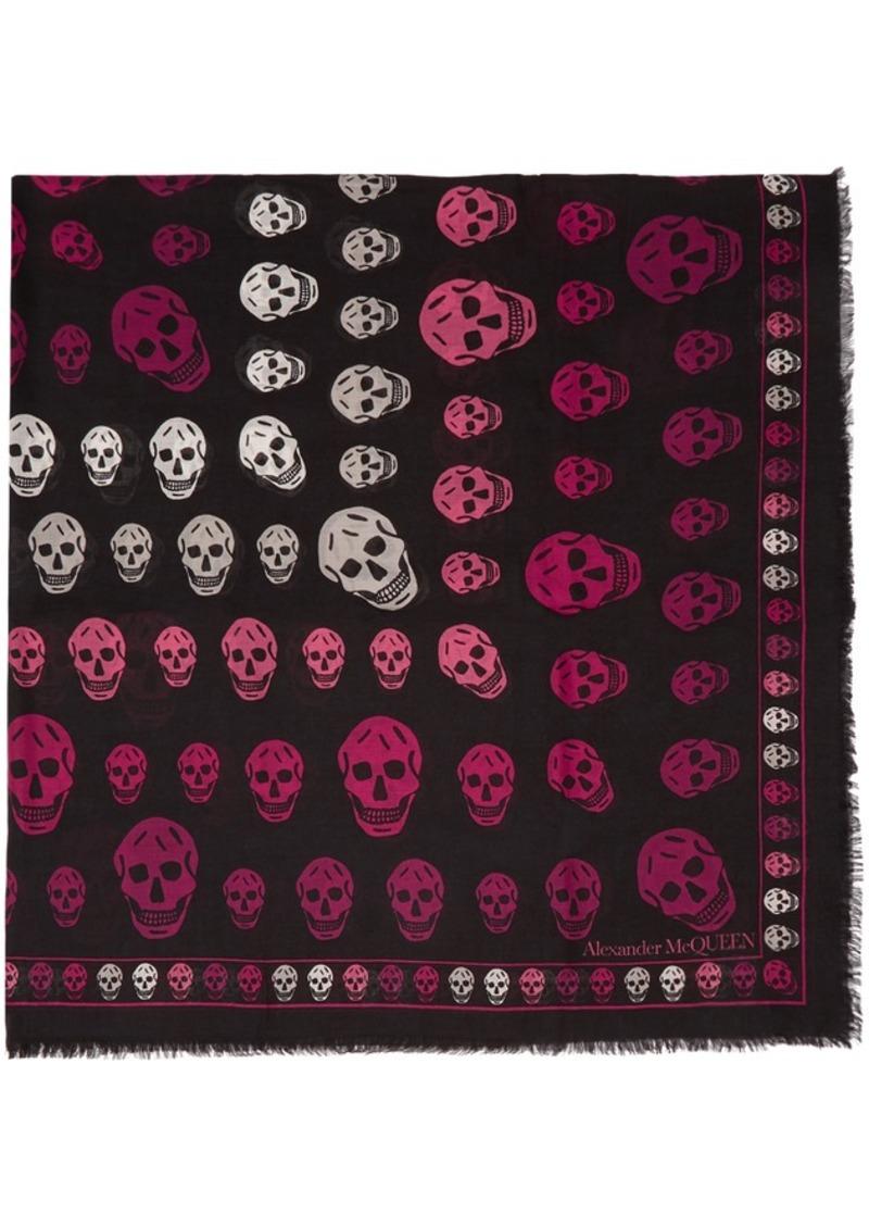 Alexander McQueen Black & Pink Multi-Skull Box Scarf