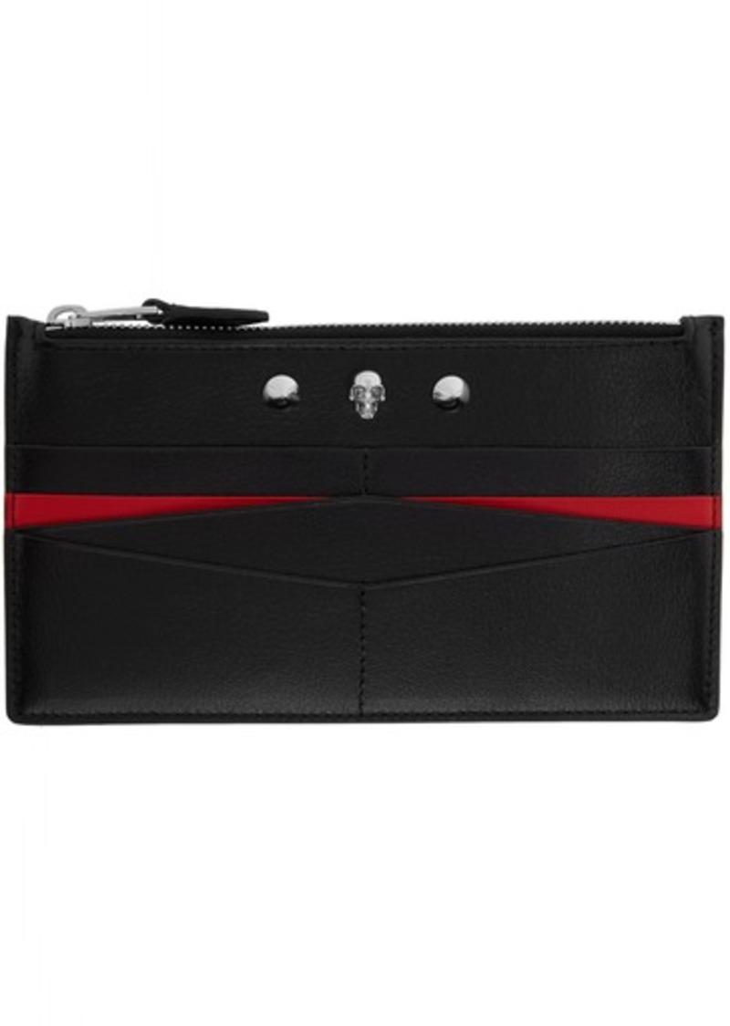 Alexander McQueen Black & Red Flat Zip Wallet