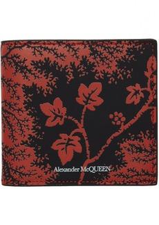 Alexander McQueen Black & Red Ivy Print Wallet