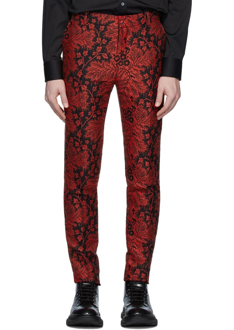 Alexander McQueen Black & Red Jacquard Ivy Creeper Trousers