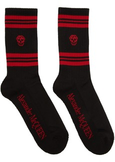 Alexander McQueen Black & Red Stripe Skull Sport Socks