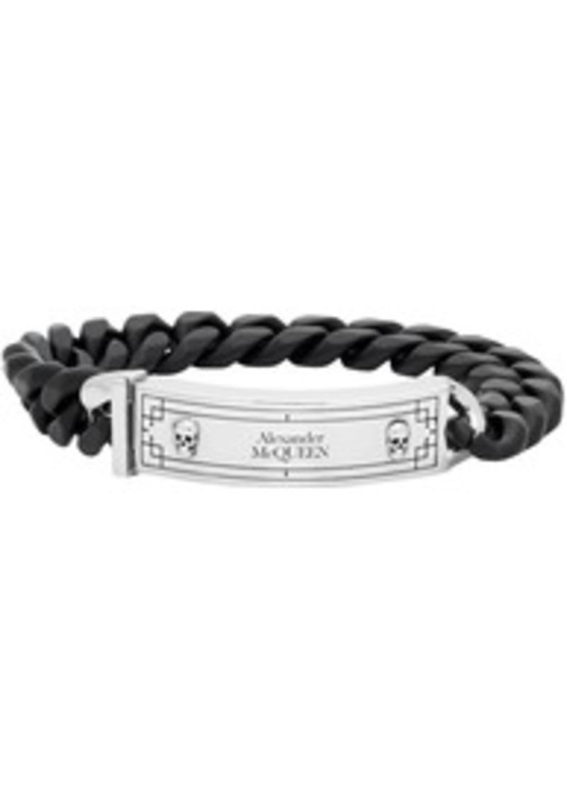 Alexander McQueen Black & Silver Identity Chain Bracelet