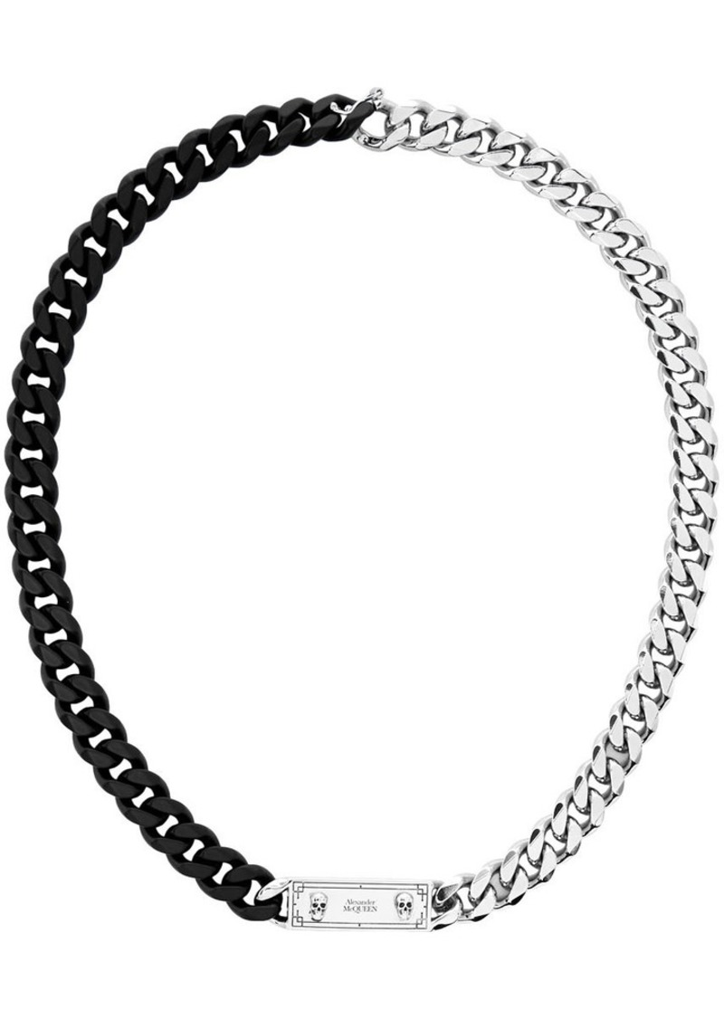 Alexander McQueen Black & Silver Identity Chain Necklace