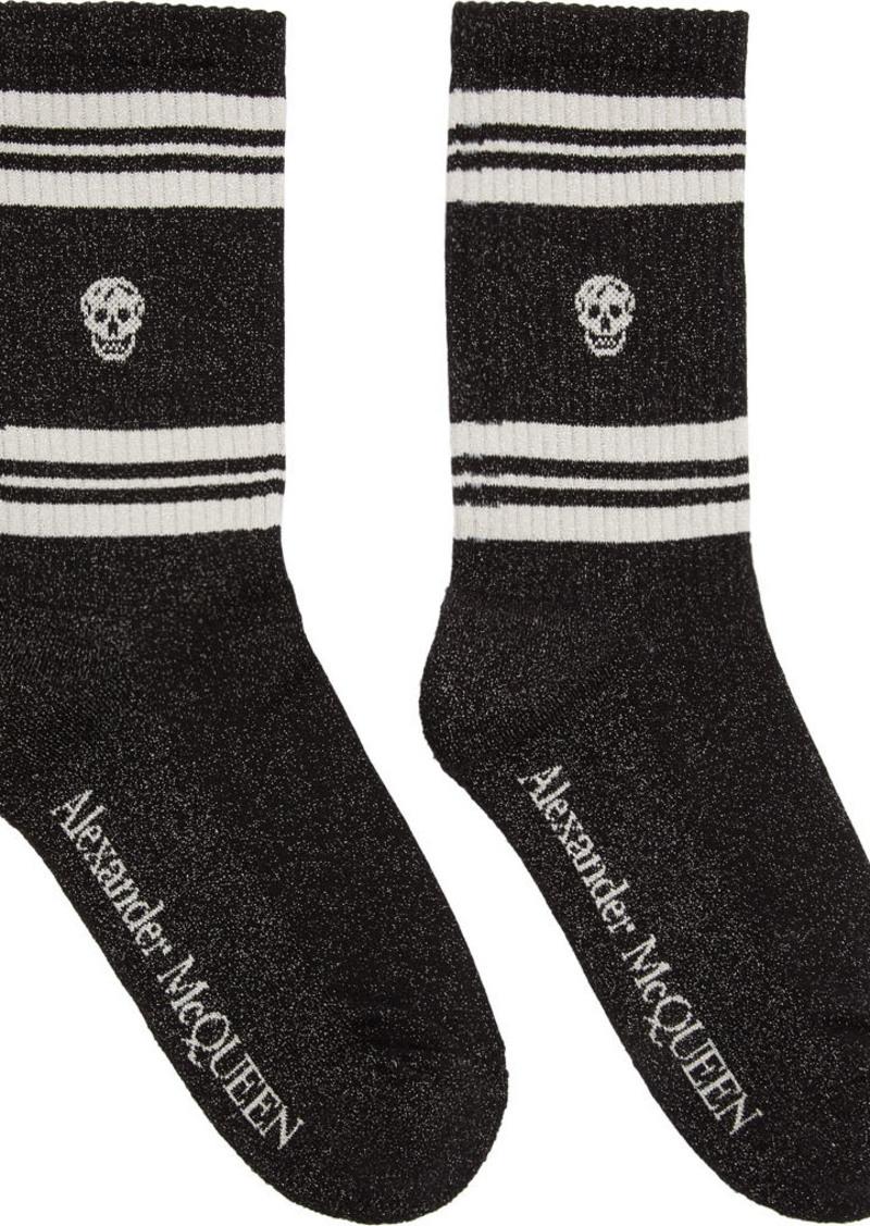 Alexander McQueen Black & White Glitter Stripe Skull Sport Socks