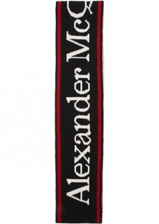 Alexander McQueen Black & White Wool Selvedge Scarf