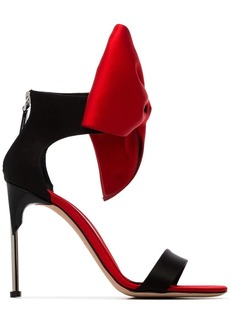 Alexander McQueen Black and Red 105 satin bow embellished sandals