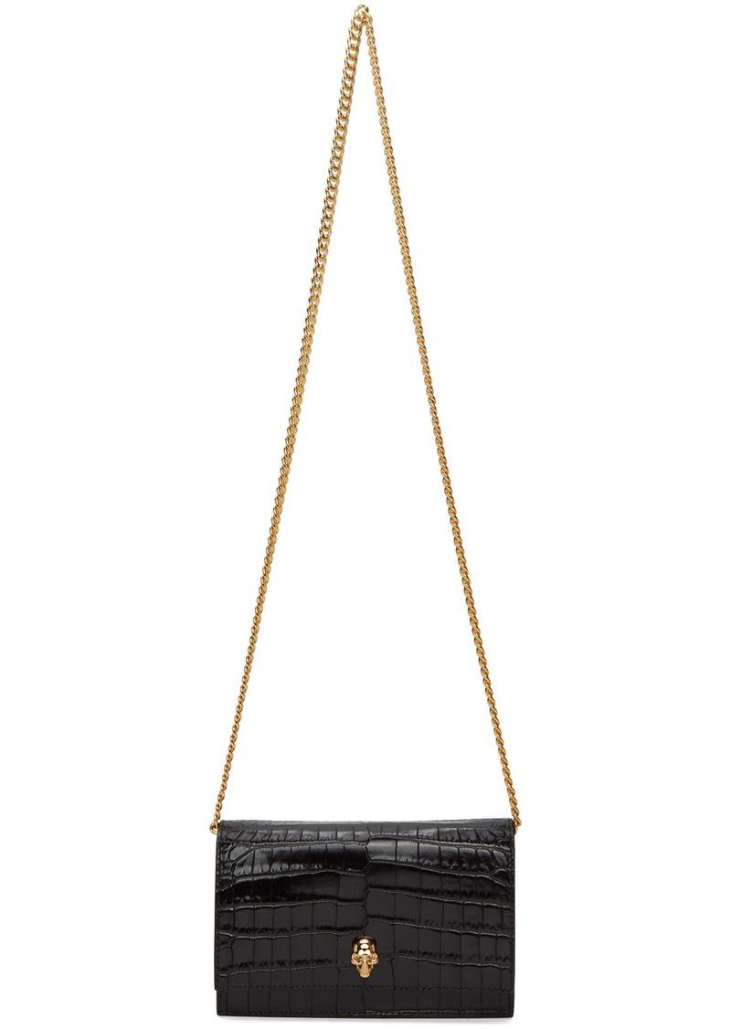 Alexander McQueen Black Croc Mini Skull Bag