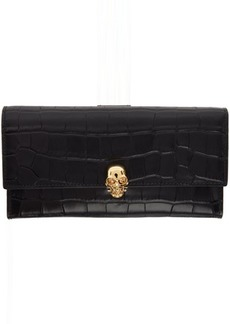 Alexander McQueen Black Croc Skull Continental Wallet