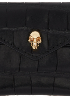 Alexander McQueen Black Croc Skull Envelope Card Holder