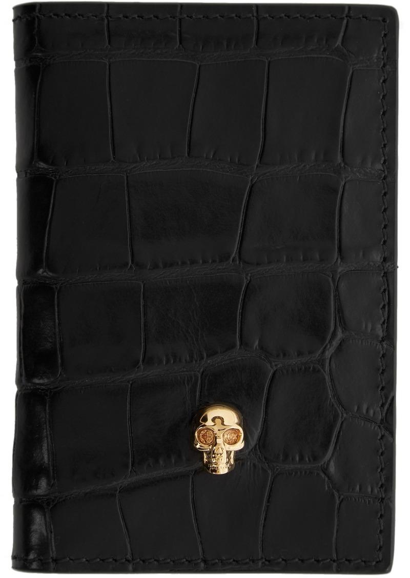 Alexander McQueen Black Croc Skull Pocket Organizer