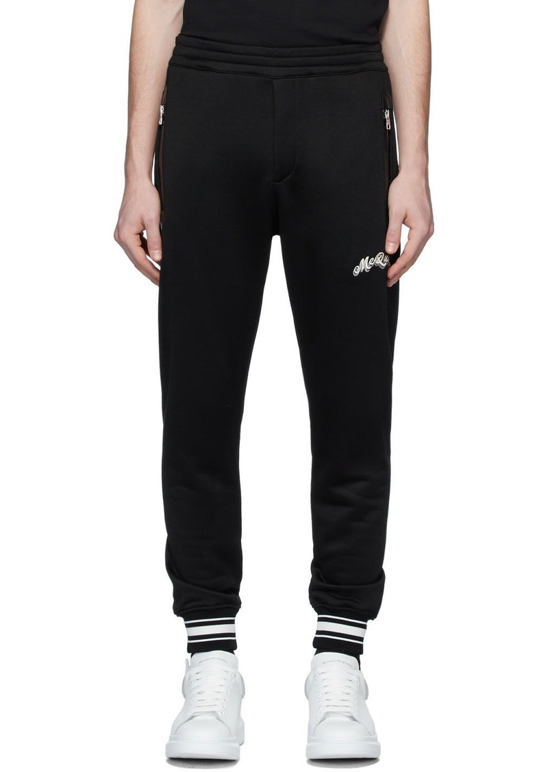Alexander McQueen Black Embroidered Logo Lounge Pants