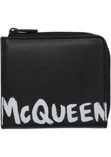 Alexander McQueen Black Graffiti Zip Coin Purse