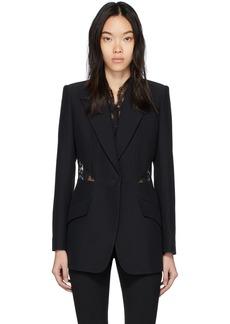 Alexander McQueen Black Lace Crepe Blazer