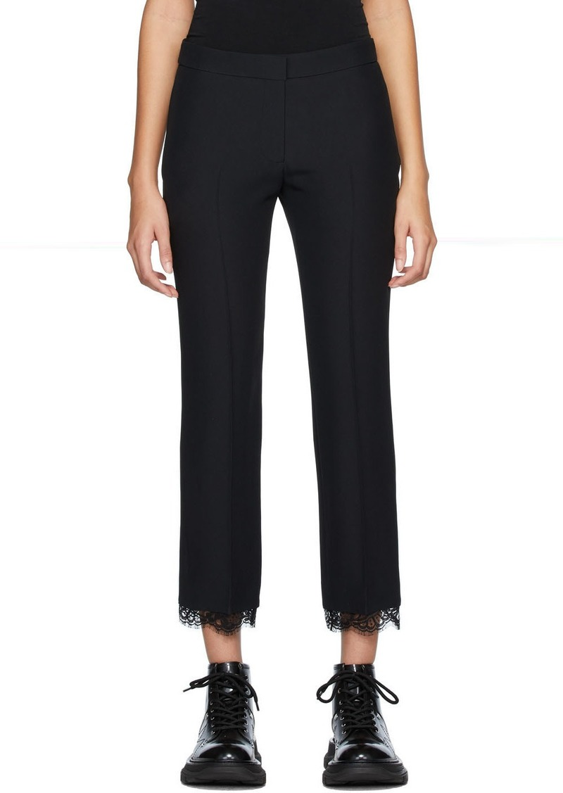 Alexander McQueen Black Lace Crepe Trousers