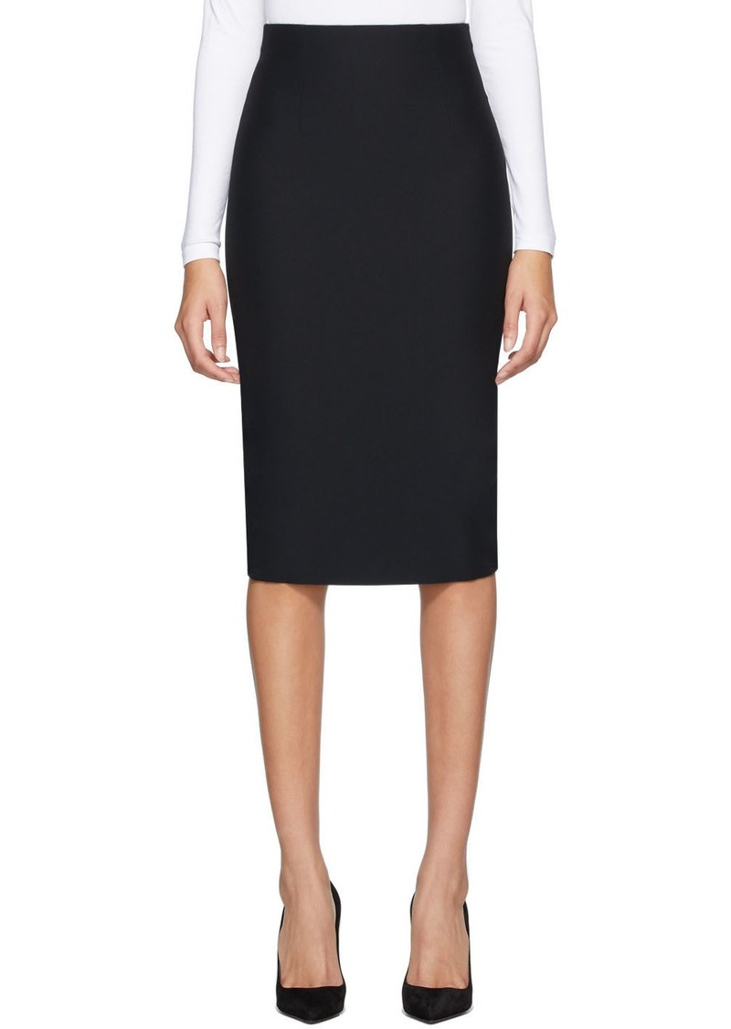 Alexander McQueen Black Leaf Crepe Pencil Skirt