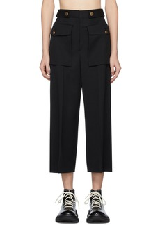 Alexander McQueen Black Military Wide Leg Trousers