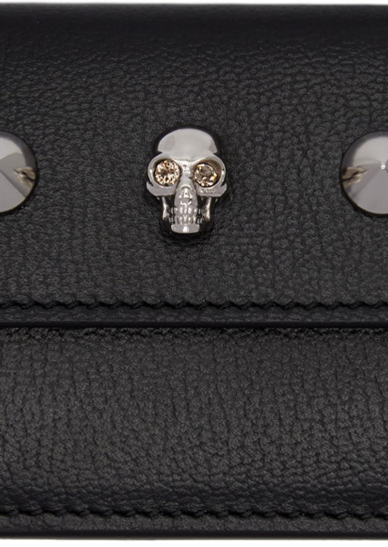 Alexander McQueen Black Mini Skull Studs Trifold Skull Wallet