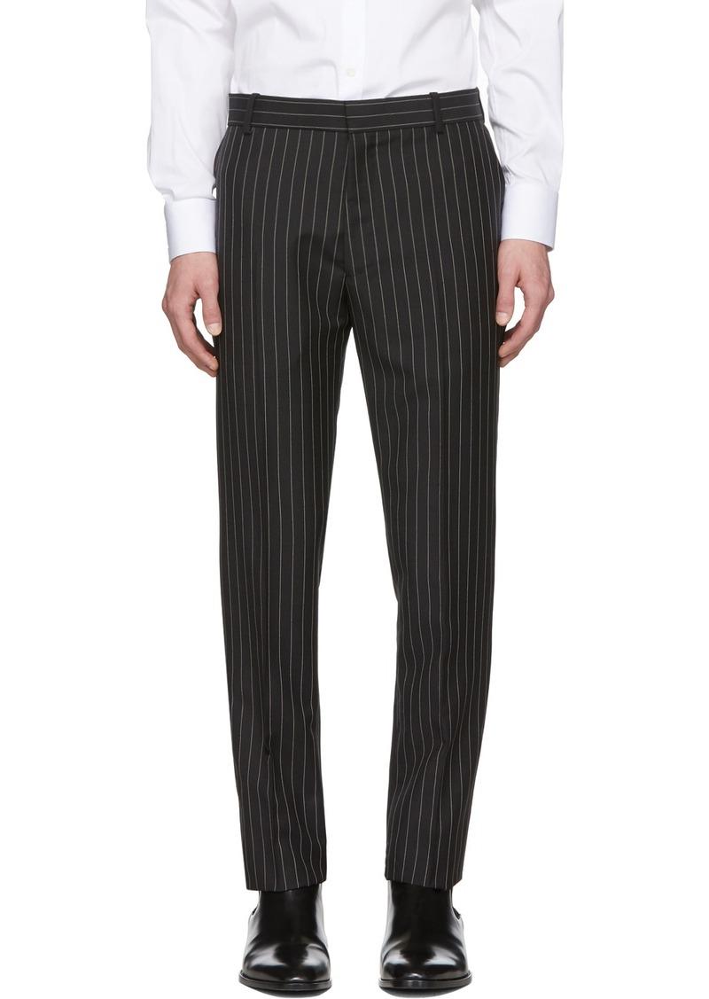 Alexander McQueen Black Mohair & Wool Pinstriped Trousers