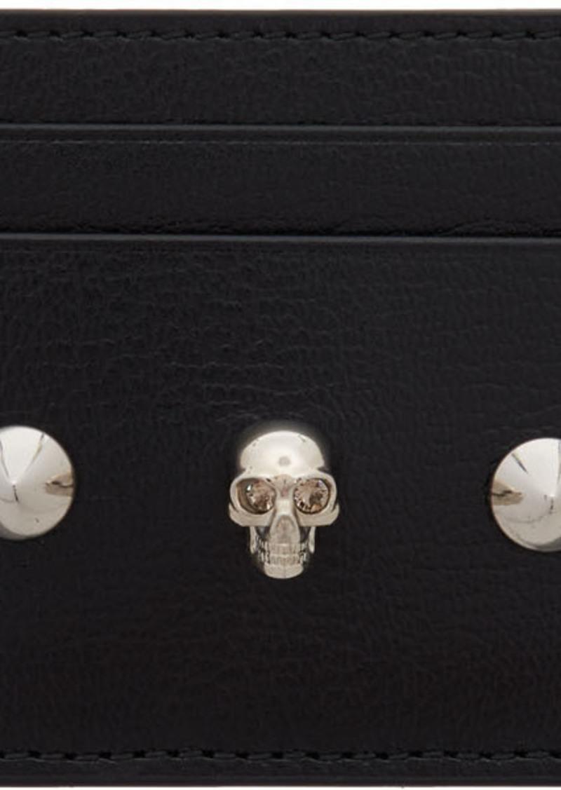 Alexander McQueen Black Skull & Stud Card Holder