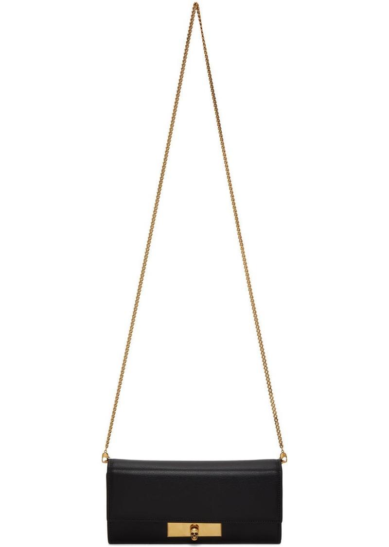 Alexander McQueen Black Skull Lock Chain Wallet Bag