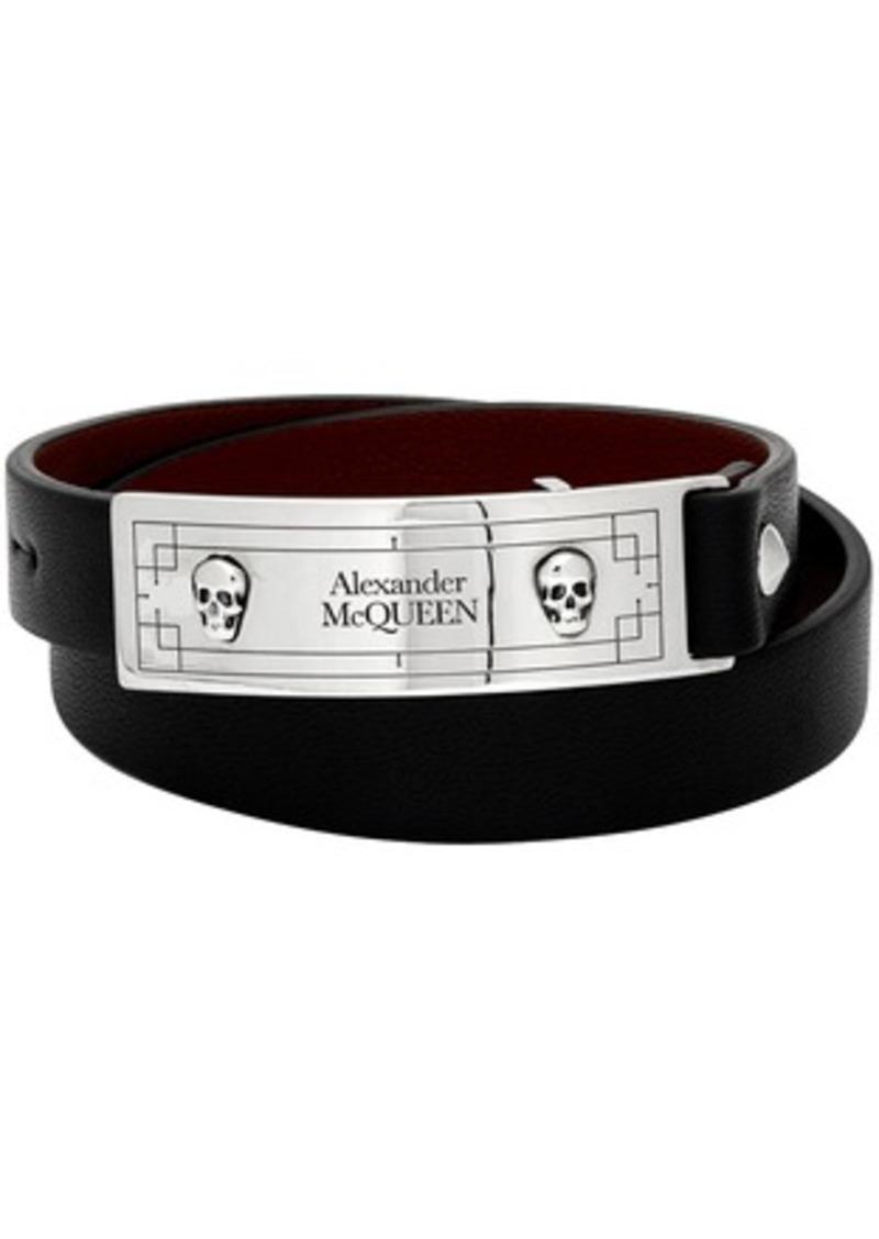 Alexander McQueen Black Snake Tag Wrap Bracelet