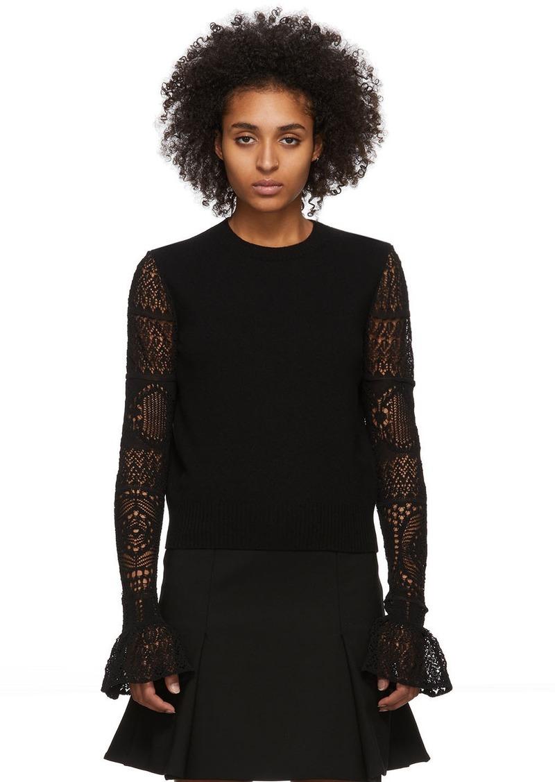 Alexander McQueen Black Wool Lace Crewneck Sweater