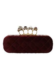 Alexander McQueen Bordeaux Velvet Matelassé Four Ring Clutch