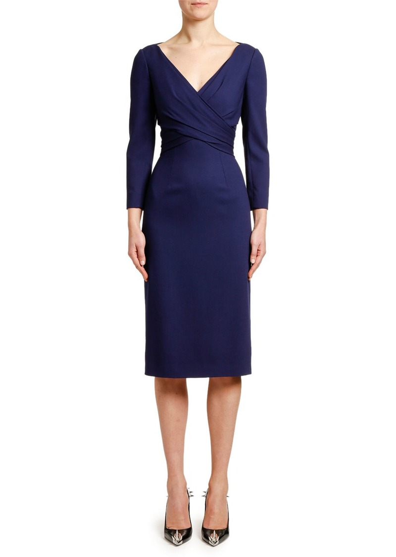 Alexander McQueen Bracelet-Sleeve V-Neck Crepe Dress