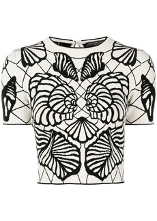 Alexander McQueen butterfly-intarsia knitted top