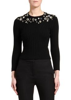 Alexander McQueen Button-Embroidered Bracelet-Sleeve Sweater