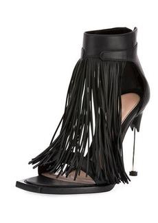 Alexander McQueen Calfskin Fringe Sandal with Metal Heel
