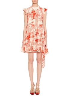 Alexander McQueen Cap-Sleeve Eve-Print Silk Dress with Asymmetric Hem