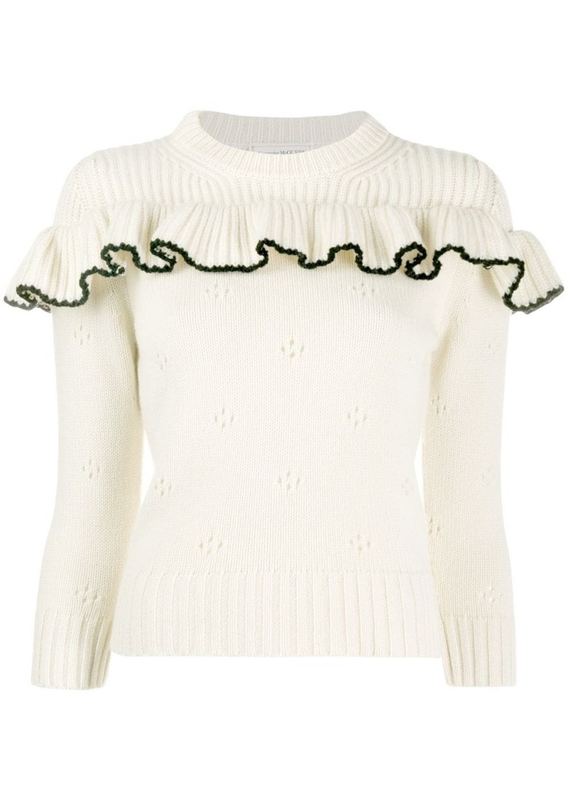 Alexander McQueen cashmere ruffled crew neck sweater