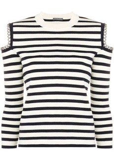 Alexander McQueen chain-embellished striped jumper