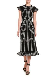 Alexander McQueen Chain Print Midi Dress