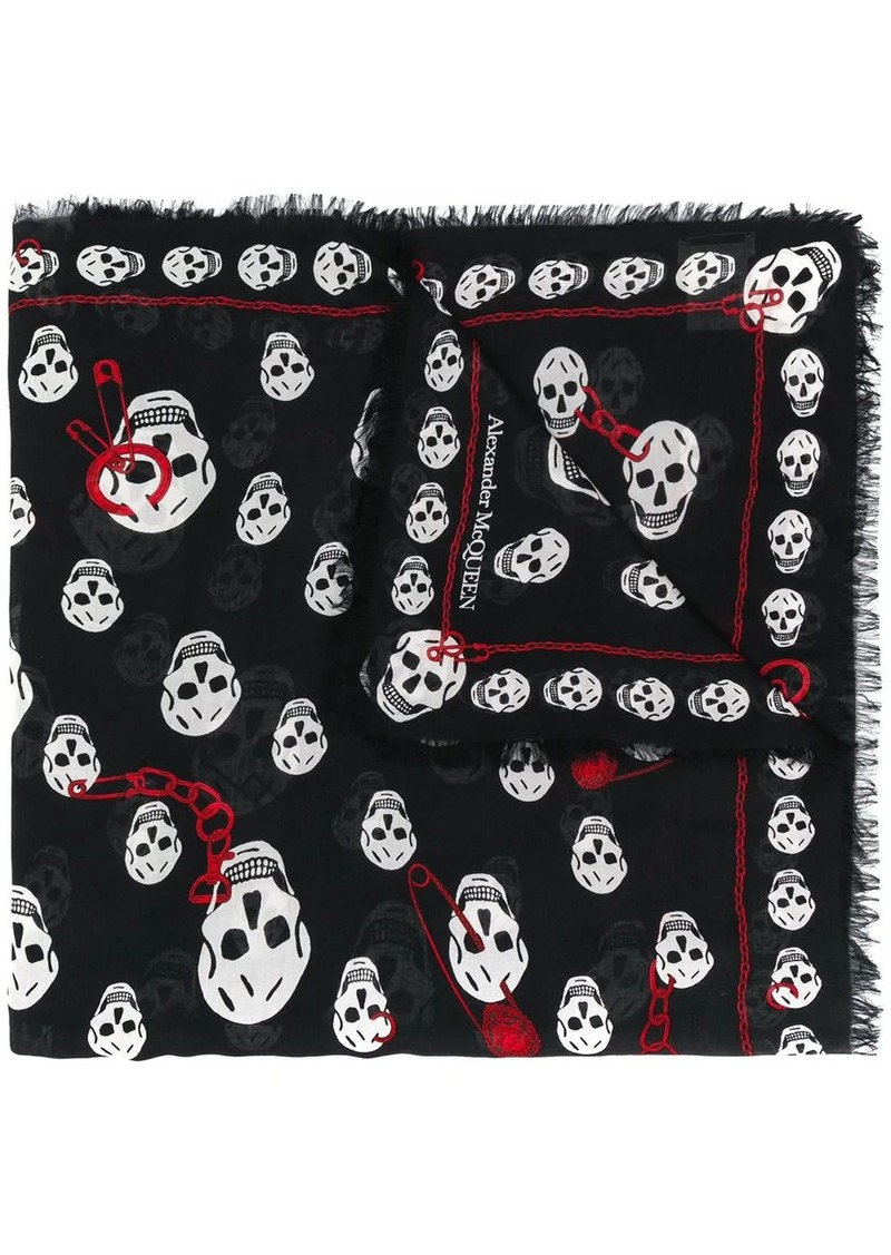 Alexander McQueen Chained skull scarf