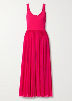 Alexander McQueen Chiffon And Ribbed-knit Midi Dress