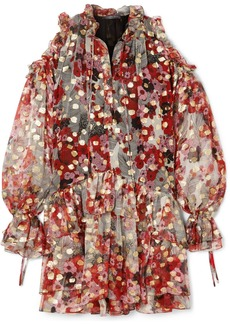 Alexander McQueen Cold-shoulder Metallic Fil Coupé Silk-blend Chiffon Mini Dress