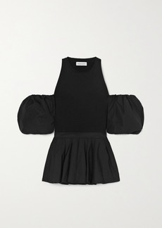 Alexander McQueen Cold-shoulder Pleated Cotton-jersey And Poplin Top