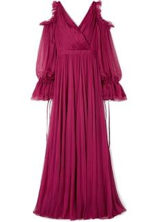 Alexander McQueen Cold-shoulder Pleated Ruffled Silk-chiffon Gown