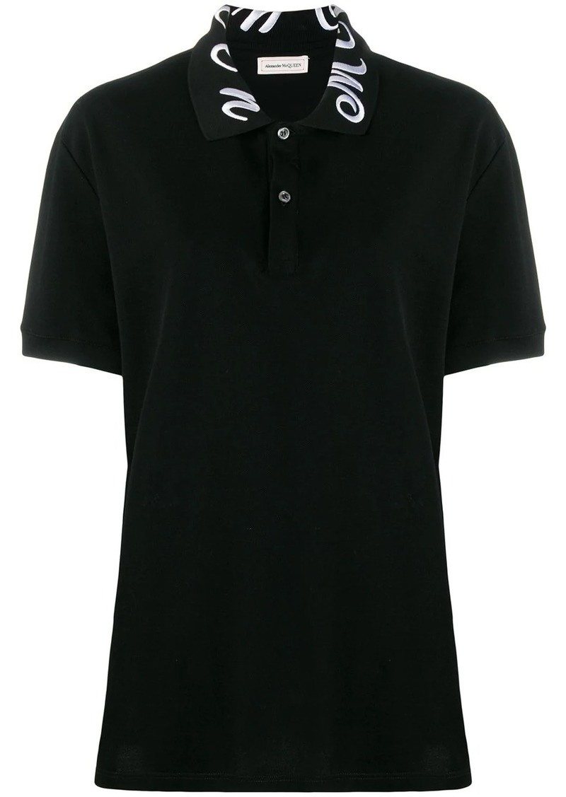 Alexander McQueen collar embroidered polo top