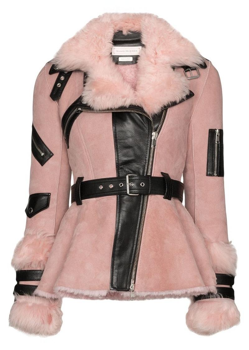 Alexander McQueen contrast belted biker jacket