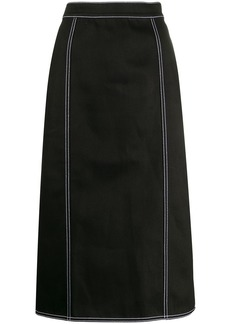 Alexander McQueen contrast stitching pleated skirt