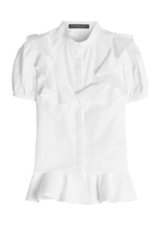 Alexander McQueen Cotton Blouse with Flutter Detail