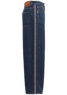 Alexander McQueen Cotton Denim Wide Leg Crop Jeans