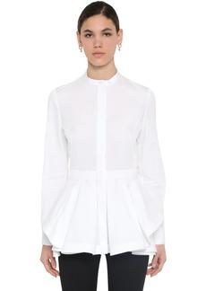 Alexander McQueen Cotton Piquet & Poplin Peplum Shirt
